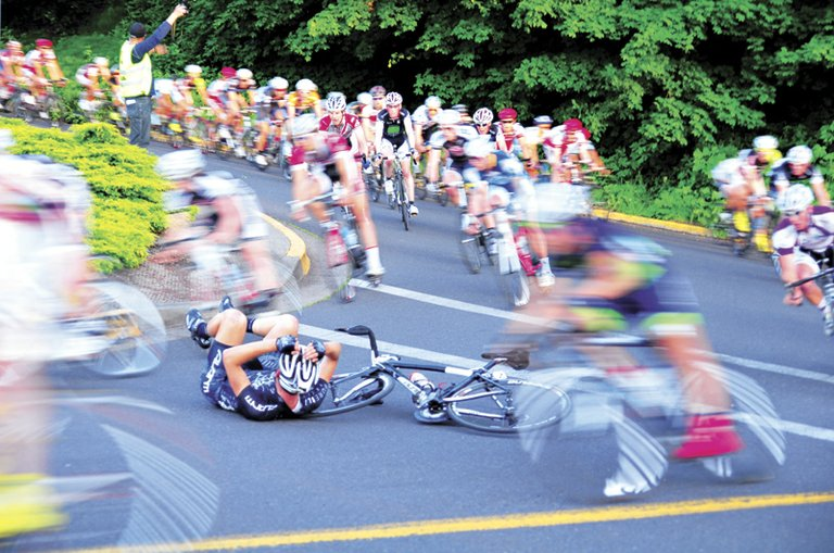 thrills and spills in the Downtown Hood River Criterium Race, set for Saturday evening starting at 4 p.m. (pros start at 6:45 and 7:40 p.m.)