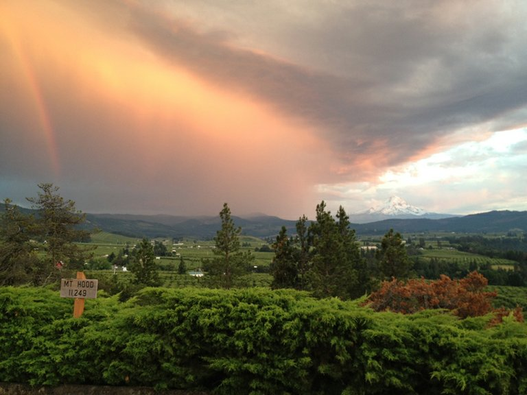 Panorama point yielded this dramatic view of the storm that passed over the east side of the Hood River Valley at sunset Saturday evening.
