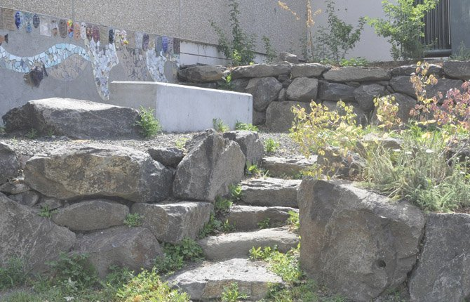 The Gifts from Our Ancestors project was completed shortly before The Dalles Wahtonka High School's graduation. Above, a series of stone steps lead up to a section of benches and native plants.