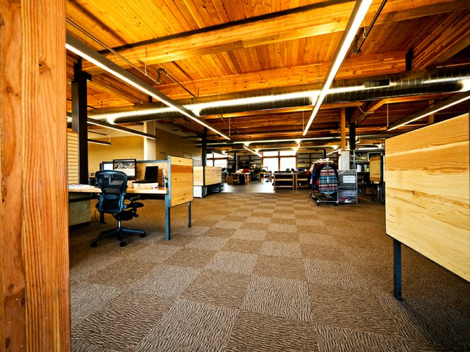 dakine headquarters? on the Hood River Waterfront, on Portway Ave., gives its staff an open-air feel and has plenty of natural light from the large windows looking north at the Columbia River.