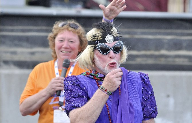"""NEWLYCROWNED queen """"Bobby Boop"""" (Bob Koch) blows a kiss to her fans after being crowned """"Mr. Relay"""" at Relay for Life Saturday evening, June 22. The event raised money for cancer research."""