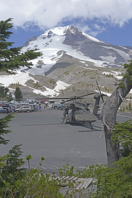 A Blackhawk helicopter assigned to C. Co. 7-158 Aviation, Oregon Army National Guard, prepares to launch on another search sortie at the summit of Mt. Hood, June 28. Kinley Adams, a 59-year-old Salem dentist who was supposed to return from his climb on Saturday at 3 p.m., was on the mountain preparing for an upcoming expedition in Nepal and has been missing. The Oregon Army National Guard aviators are working with the Clackamas County Sheriff's Office to provide search and rescue support.