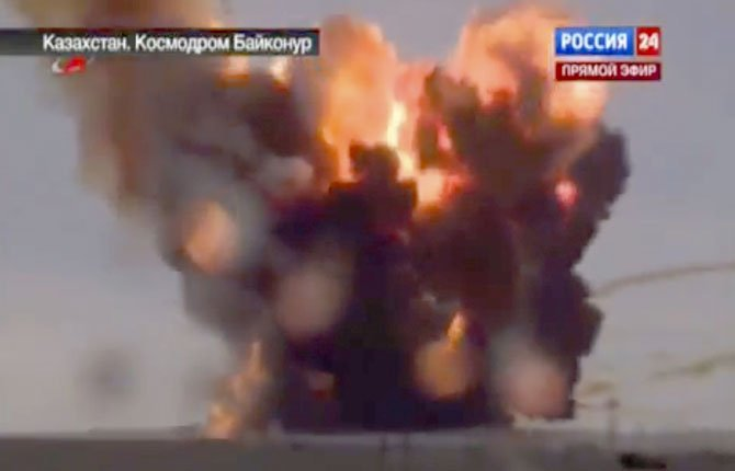 In this frame grab made from TV footage distributed by Russian Vesti 24 channel  Russian booster rocket carrying three satellites crashes at a Russia-leased cosmodrome in Kazakhstan on Tuesday  July 2, 2013 shortly after the launch  The Proton-M booster unexpectedly shut down the engine 17 seconds into the flight and crashed some 2 kilometers (over a mile) away from the Baikonur launch pad, the Russian Space Agency said in a statement.