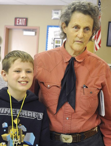 Temple Grandin with an iStar program student in The Dalles.