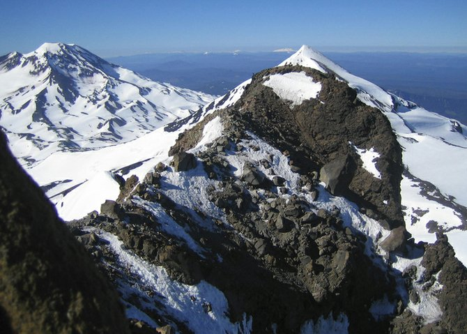 View from the Summit of North Sister of South (left) and middle sisters.