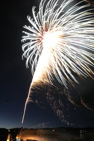 The Spit was aglow Thursday evening with red, white, and blue hues from the fireworks display put on by the Hood River Lions Club.