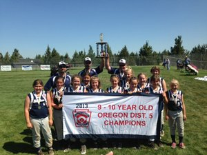 District champs: Hood River Little League's 9/10 All Star squad won last week's district tournament and are off to state, starting this weekend in Scappoose. Pictured are (back) coaches Kris Zorza, Jason Kona and Chris Nickelsen and players (left to right) Aunika Yasui, Reese Leiblein, Celilo Brun, Grace Guertin, Kyla Zorza, Mikayla Matthews, Rylee Kona, Molly Routson, Jessa Nickelsen, Mollie Ritoch, Taylor Beam and Bella Moore.