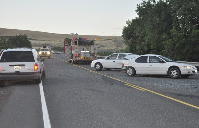 A three-car, six-injury crash blocked Highway 197 between the auction yard and Celilo Converter Station