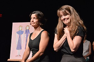 "Artwork accompanies actors Barb Berry and Desiree Amyx Mackintosh in ""Love, Loss and What I Wore,"" through this weekend at Columbia Center for the Arts."