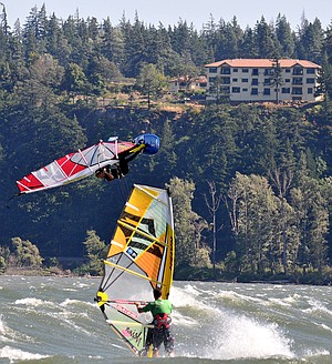 gorge style category will give local favorites like Sean Aiken, pictured in the middle of a giant back loop, a level playing field against the field of visiting pro windsurfers during this week's two-day Freestyle Frenzy contest.