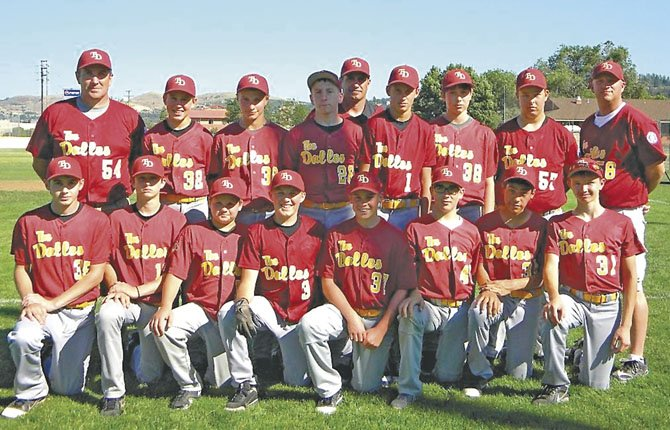 PLAYERS FROM  The Dalles' 13UAll Stars pose for a photo before the start of state tournament play. They are (front row, from left to right), Dan Peters, Connor Uhalde, Court Strizich, Kolbe Bales, Bradley Moe, Tylan Webster, Jose Gonzales and Spencer Honald. In the back row are, Coach Jeff Justesen, Treve Martin, Jacob Justesen, Bailey Keever, Coach Joe Justesen, Brady Woods, William Justesen, Blake Davis and Coach Kurt Woods. In four state games, TD went 1-3.