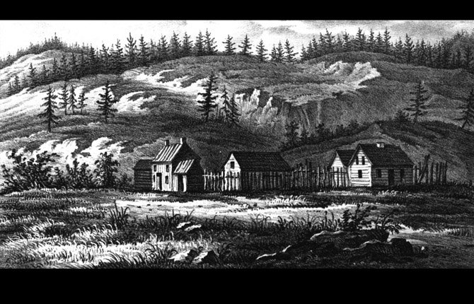 WASCOPAM METHODIST MISSION in The Dalles, viewed from the south. The crudely constructed buildings, abandoned after the Whitman massacre of 1847, were ordered burned by the army to prevent potentially hostile Indians from using them. Two illustrators, George Gibbs and William Tappan, accompanied the regiment. Whether the artist of this sketch was Gibbs or Tappan is undocumented.