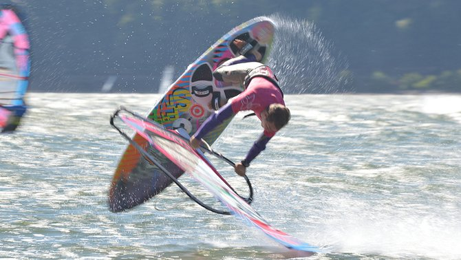 Freestyle Frenzy champion Bryan Metcalf-Perez in the middle of a flat-water freestyle trick.