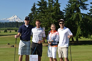 Tournament winners Josh Halemeier,Justin Kahut, Rachel Stenberg and Stephen Stenberg at Hood River Golf Course.