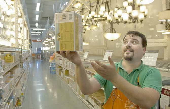 "SHAKESPEAREAN ACTOR DAVE OWENS does his best ""alas, poor Yorick"" from ""Hamlet"" in the lighting aisle at Home Depot. Owens is organizing a performance of Shakespeare's ""The Comedy of Errors"" and will have auditions this Thursday and Friday at The Dalles Chronicle at 6:30 p.m.	Mark B. Gibson photo"