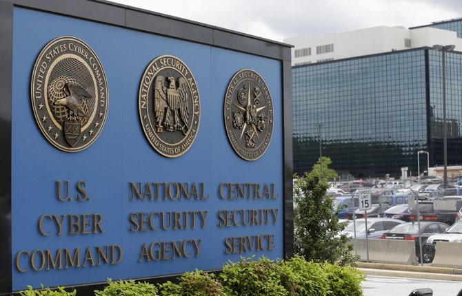 This June 6 photo shows the sign outside the National Security Administration (NSA) campus in Fort Meade, Md.  	