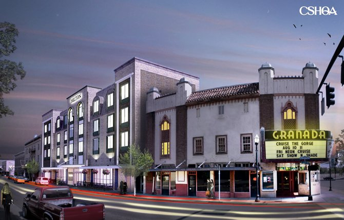 SEVENTH RENDERING of proposed Rapoza development at Second and Washington streets shows how a new hotel could integrate with the historic Granada Theater.Contributed graphic