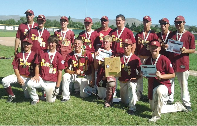 THE DALLES' 15U baseball All Stars share some smiles after securing the Pacific Northwest 15U State Championship Saturday afternoon in Baker City. The Stars now head to Centralia, Wash. for the Pacific Northwest Regional Tournament for a shot at making it to the World Series. 	                      		            Butch Hert/Contributed photo