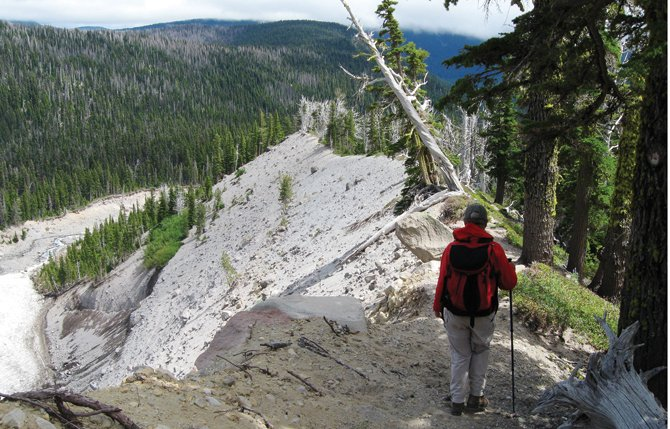 JANET TSCHANZ stands atop the Newton Creek medial moraine, a secluded gem on Mt. Hood.