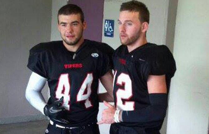 TDW graduates, (pictured from left to right), David and Zach Saylors snap a photo after playing in a semi-pro football game this year in Vancouver, Wash. For their play this season, the duo chalked up an end-of-the-year all-star game invitation.                                         Contributed photo