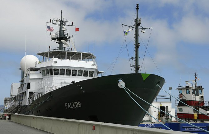 "The research ship ""Falcor"" is seen at dock Aug. 1, in San Francisco. The $60 million ship funded by a Google executive is setting sail from San Francisco to study a so-called ""dead zone"" in the Pacific Ocean and other mysteries of the sea. The ship carries an unmanned submarine that will travel deep into the ocean off Vancouver Island to study an area where all sea life dies each year from a periodic lack of oxygen."