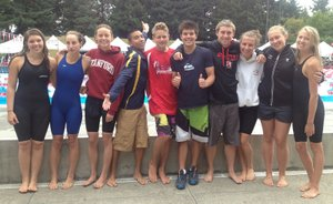 HOOD RIVER VALLEY SWIM TEAM'S oldest members were at Mt. Hood Community Co-lege last weekend for the Oregon Swimming Inc. 13-and-over state championships.