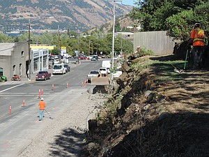 The new state street view along the newly-bared bluff.