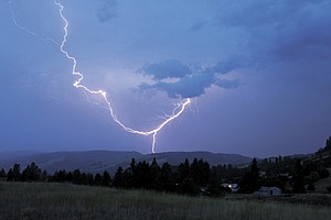 Thunder and lightning lit up the night sky Friday night.