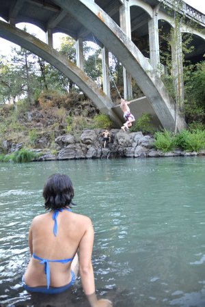 THE HOOD RIVER at Tucker Bridge slows to a calm, deep pool, ideal for cooling off on a hot summer afternoon.
