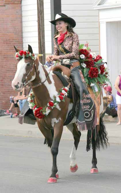 THE DALLES' Carsen Cordell participates in this past weekend's Threshing Bee events in Dufur. For the past 11 months, Cordell has represented the Fort Dalles Riders Association as queen.