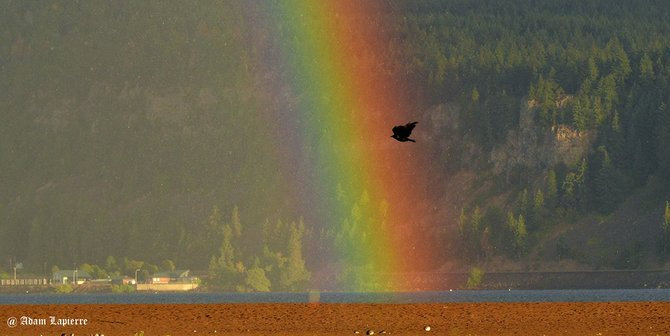 A reward for getting up early, this rainbow appeared with the sunrise and rain Friday morning in front of downtown Hood River. Weather forecasts show a return to more normal summer weather starting Saturday.
