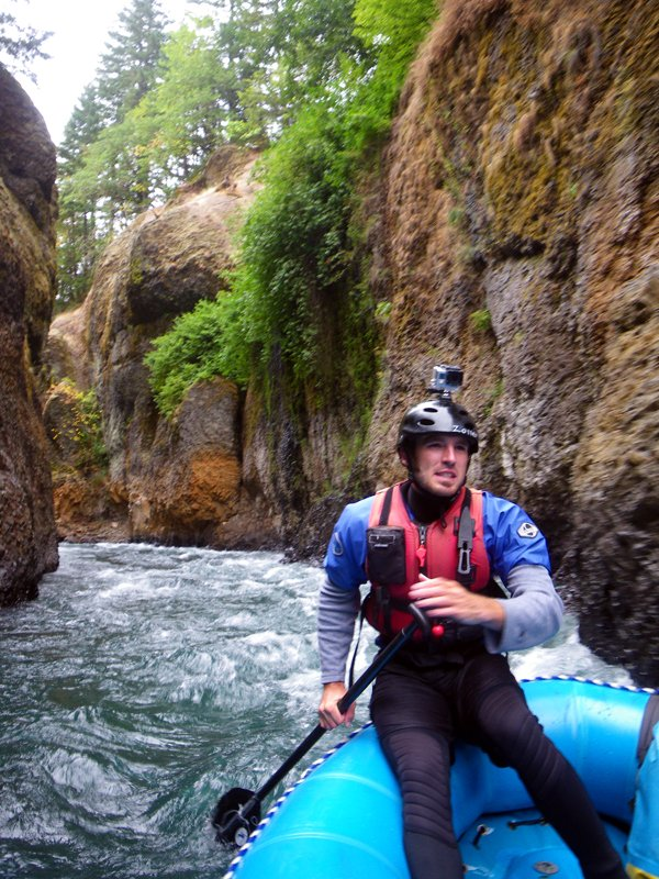 ZACH ZOLLER navigates a guided rafting tour down the lower White Salmon River in a narrow, moss-covered canyon below the former Condit Dam earlier this month.