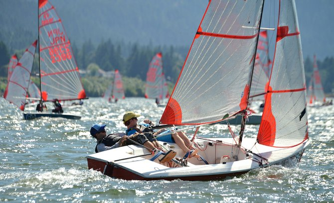 T A S A R WORLDS racing action, seen here Tuesday afternoon, runs through Saturday on the Columbia just east  of Cascade Locks.