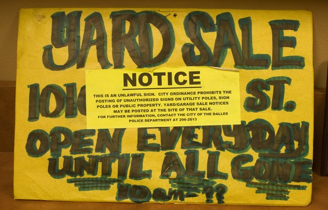 Yard sale sign that led to court case