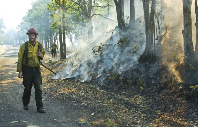 A wildland firefighters patrols a section of the access road leading to The Dalles Water Treatment Plant just beyond Reservoir Road as the fire burns out along the road. A member of his crew was later seen carefully escourting a praying mantis across the road in front of approaching fire traffic.