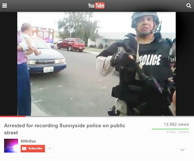 Thomas Warren's YouTube videotape showing his confrontation with Sunnyside SWAT Team member Sgt. Oliver Hernandez was taken shortly before Warren was arrested and cited for obstructing a police officer. The incident occurred during a raid on a Sunnyside house in the 1400 block of South Eighth Street on Aug. 10.