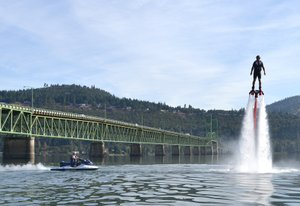 gorge flyboard owner Neil McCormick demonstrates just how simple the water-powered setup is to maneuver. The system pushes about 1,000 gallons a minute, powered by a jetski.