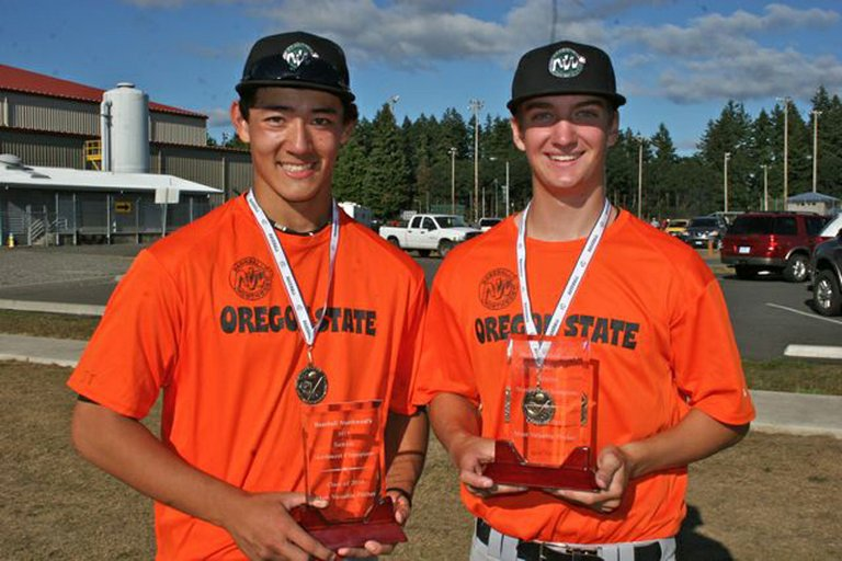 HRV baseball players Kellan Duffy and Ryan Ward at the recent Baseball Northwest Senior Championship Tournament.