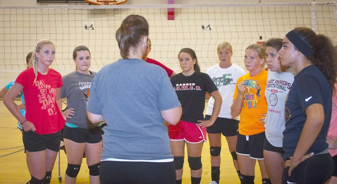 DUFUR volleyball coach Kelly Darden (front) discusses strategy and execution with her team during practice at Dufur High School. As one of the top teams in the state, the Lady Rangers, who won 21 matches and finished ranked No. 2 in the state in 2012, return two former all-state winners in Taylor Darden and Teneille McDonald, along with a few other all-league hitters and top setter Alexa Macias.