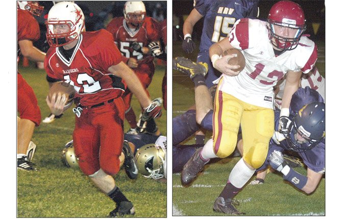 LOCAL football players Cole Parke (left) and Chaise Shroll are in action last season in gridiron contests. At 7 p.m. tonight, squads from Dufur, Sherman and The Dalles Wahtonka hit the field for some non-league play.