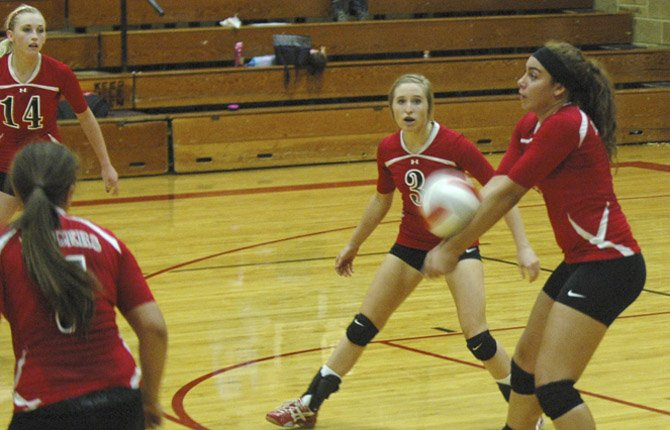DUFUR volleyball player Taylor Darden squares up a pass in Friday's 1A match in Dufur. The Rangers ended up losing in four games to Imbler.