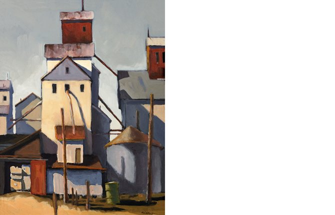 "ROBERT SCHLEGEL'S ""GRAIN ELEVATOR"" is painted with acrylic on board. The Art About Agriculture permanent collection acquired his work in 2005. Works from the collection will be displayed at the Sherman County-Public-School Library in Moro until Sept. 24.	