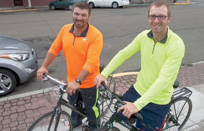 Nick Roach, left, and Jack Chambers are traveling to raise money for Crohn's Disease causes.	Mark B. Gibson photo