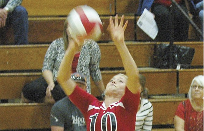 DUFUR volleyball player Kyla Johnson dishes up a pass attempt in varsity action this season. This past weekend in Moro, the Rangers went 5-1 at the Sherman Husky Tournament.