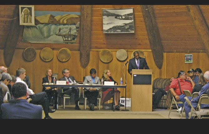 TONY WEST, U.S. Associate Attorney General, at the podium, announces new initiatives related to public safety during a meeting of 30 U.S. Attorneys at Celilo Village. The attorneys are part of the U.S. Attorney General's advisory committee on Native American Issues.