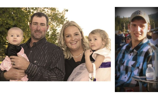 THE KADEE HARRINGTON family, above left, which is struggling after the death of husband and father, Tom, and the family of Donovon Doroski, right, who suffers from Stage 4 Hodgkin's lymphoma, will benefit from points bought for the Sept. 28 Pig Bowl. 	Contributed photos