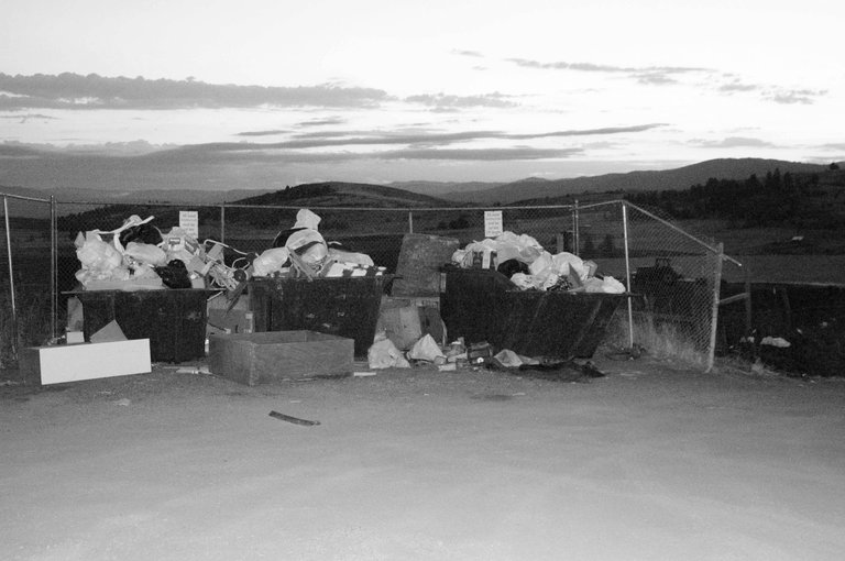 This Sept. 16 photo shows the overflowing dumpsters at the Fairview bins site.