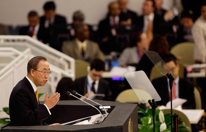 United Nations Secretary-General Ban Ki-moon speaks during the 68th session of the General Assembly at U.N. headquarters Sept. 24.