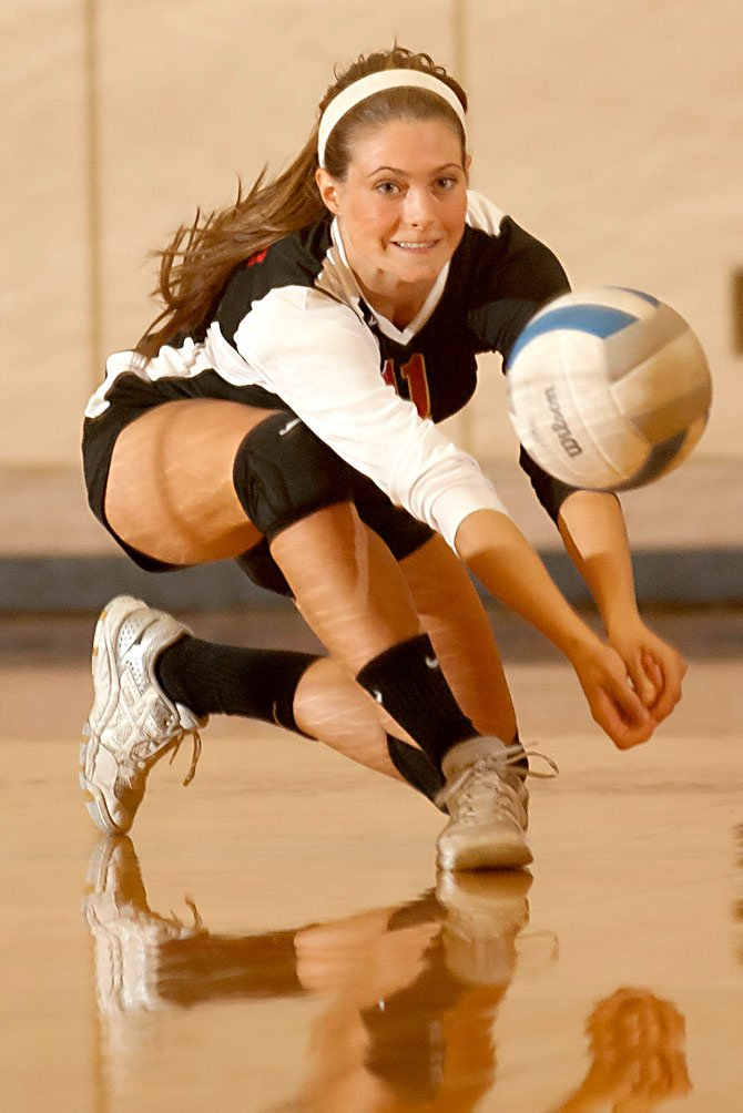 Dufur senior Kathryn Johnson gets under a serve during Tuesday's matchup with Sherman in Moro.