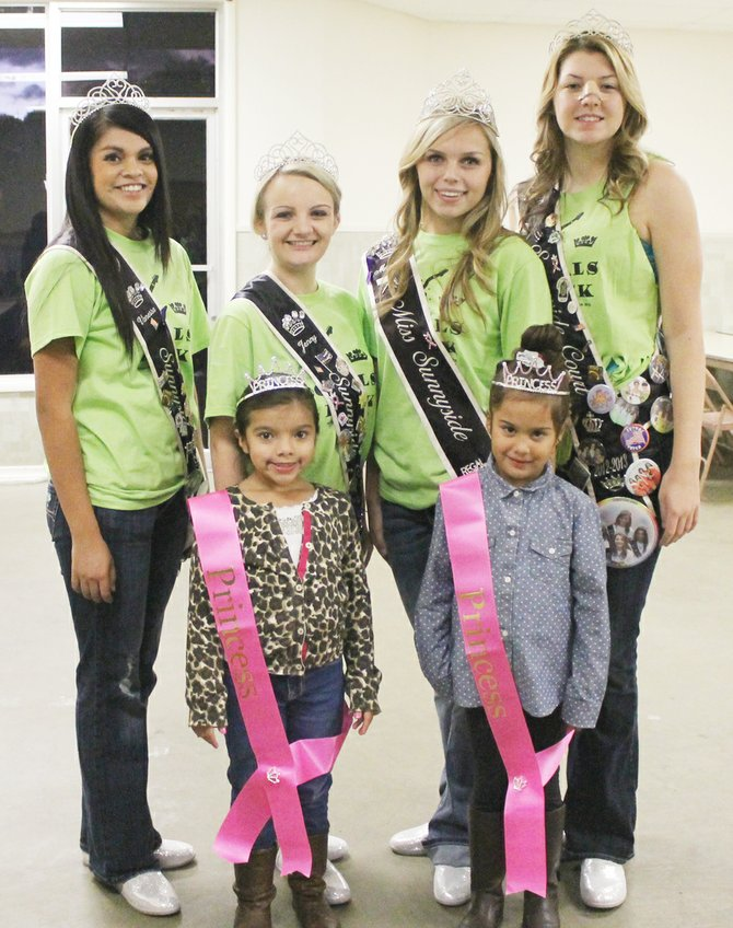 This past Saturday the names of the Royalty for a Day raffle winners were announced. Winning the privilege of riding in the Sunshine Days Parade, attending the royalty luncheon, a crown and sash are (front L-R) Audrina Campos and Lili Briones. Pictured with the winners are (back L-R) Miss Sunnyside princesses Vanessa Serna and Jenny Hall, Miss Sunnyside Madison Marquez and princess Josie Marro. Not pictured is raffle winner Jerry Serna of Seattle.